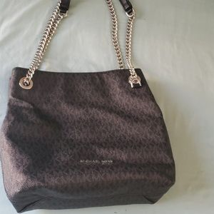 Black and silver chain and leather MK handbag